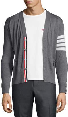 Thom Browne Merino Wool V-Neck Cardigan with Four-Bar Stripe
