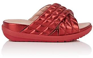FitFlop LIMITED EDITION Women's Quilted Metallic Leather Slide Sandals - Md. Red