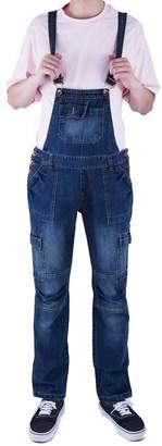3.1 Phillip Lim Idopy Men`s Multi-Pockets Washed Vintage Denim Bib Overalls Jumpsuit