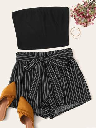 Shein Plus Bandeau Rib-knit Top & Belted Striped Shorts Set