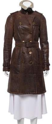 Burberry Shearling Knee-Length Coat