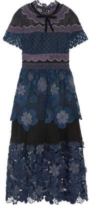 Self-Portrait Velvet-trimmed Panneled Guipure Lace Midi Dress - Navy