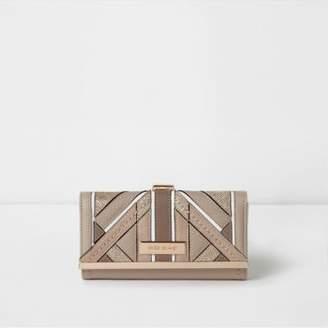 River Island Beige textured glitter clip top purse