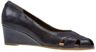 Van Dal Navy Leather 'Paxton' Wedge Peep Toe Shoes