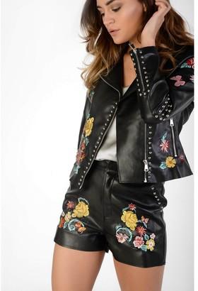 Glamorous Black PU Embroidered Shorts