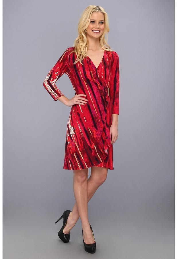 Calvin Klein Print Op Drape Matte Jersey Dress Women's Dress
