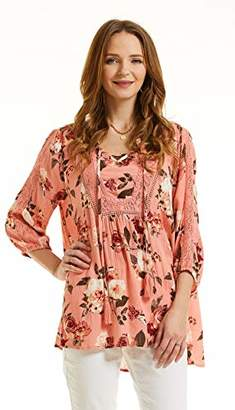 SONJA BETRO Women's Floral Printed Lace Velvet Inset Tunic Top Blouse