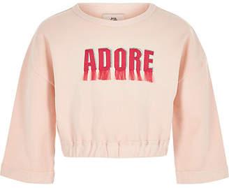River Island Girls pink 'adore' fringe sweatshirt