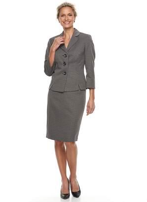 Le Suit Women's Diamond Jacquard 3 Button Skirt Suit Set