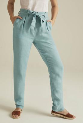 e4232100d950c Long Tall Sally Belted Paperbag Waist Linen Trouser