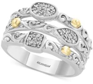 Effy Balissima by Diamond Stack-Look Cluster Ring (1/8 ct. t.w.) in Sterling Silver & 18k Gold