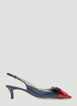 Gucci Slingback Web Bow Leather Kitten Heel in Red