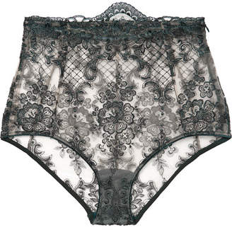 I.D. Sarrieri La Rêveuse Satin-trimmed Embroidered Stretch-tulle Briefs - Anthracite