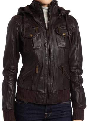 Factory The Leather Women's Lambskin Detachable Hoodie Leather Bomber Jacket L