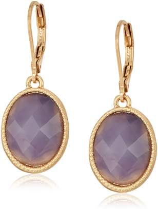 lonna & lilly Gold-Tone and Pink Flower Floater Drop Earrings