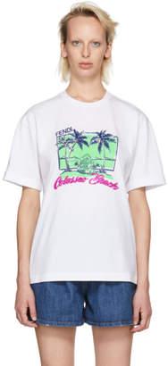 Fendi White Sequinned Colosseo Beach T-Shirt