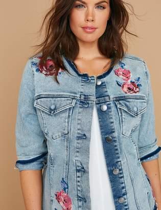 Lane Bryant Fast Lane Floral Embroidered Denim Jacket