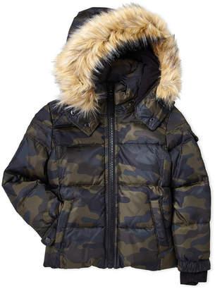 S13 Boys 4-7) Camo Downhill Faux Fur Trim Coat