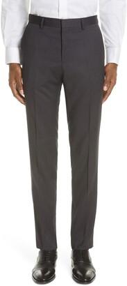 BOSS Genesis Flat Front Slim Fit Solid Wool Dress Pants