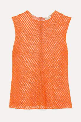 Dries Van Noten Bead-embellished Mesh Top - Orange