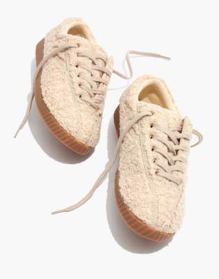 Madewell Tretorn Nylite Plus Sneakers in Cream Faux Shearling