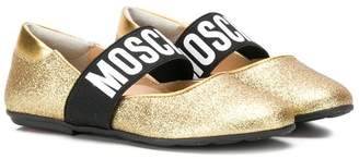 Moschino Kids logo banded glitter pumps