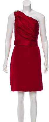 Marchesa One-Shoulder Silk Mini Dress