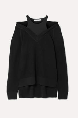 Alexander Wang Layered Wool And Stretch-cotton Jersey Sweater - Black