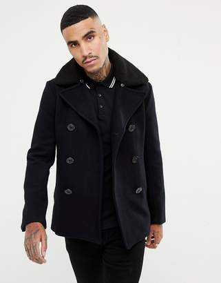 Schott Cyclone 4 Wool Reefer Coat Detachable Faux Fur Collar in Navy