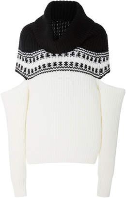 Monse Sliced Fair Isle Wool Turtleneck Sweater