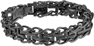 48632e77bbb8 Lynx Black Ion-Plated Stainless Steel Diamond Accent Sideways Cross  Railroad Bracelet - Men