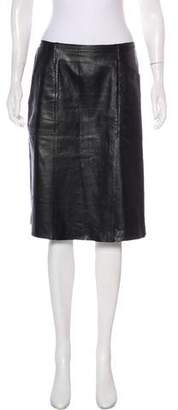 Philosophy di Alberta Ferretti Leather Knee-Length Skirt