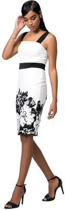 Le Château Women's Black & White Floral Cocktail Dress,S,Ivory/Black
