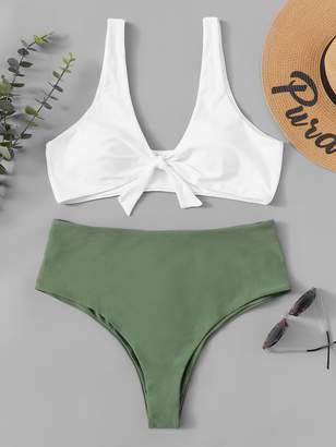 Shein Plus Two Tone High Waist Bikini Set