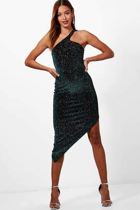 boohoo Metallic Velvet One Shoulder Midi Dress