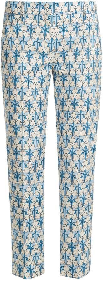 PRADA Iris stem-printed cotton-poplin trousers