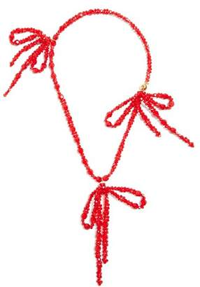 Simone Rocha Bow Embellished Pendant Beaded Necklace - Womens - Red