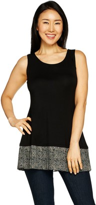 Logo By Lori Goldstein LOGO Layers by Lori Goldstein Solid Tank with Pleated Printed Ruffle at Hem