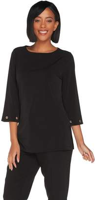 Susan Graver Liquid Knit Bateau Neck Tunic with Grommet Detail
