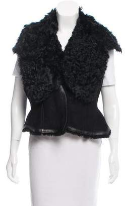 Givenchy Goat Hair-Trimmed Shearling Vest