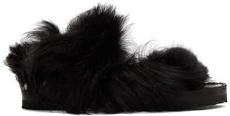 Sacai Black Lamb Fur Sandals