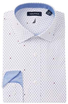 Nautica Dark Blue Print Classic Fit Dress Shirt