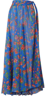 Clearance Best Seller Andros Floral-print Bikini And Cotton And Silk-blend Voile Sleeves - Bright blue Caroline Constas Sast Cheap Price Pick A Best Cheap Price Outlet With Paypal Cheap Big Sale ZET0pz3lux