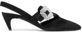 Roger Vivier Choc Crystal-embellished Suede Slingback Pumps - Black