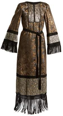 Andrew Gn Fringed Edge Tie Waist Brocade Gown - Womens - Gold