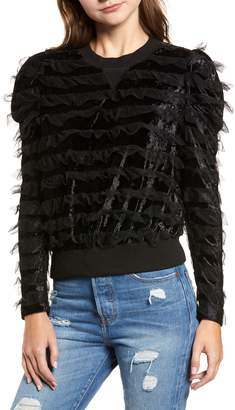 Moon River Tulle Ruffle Velour Pullover