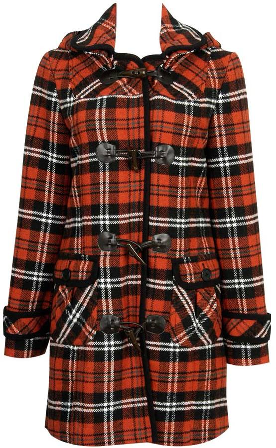 Hooded Plaid Wool Toggle Coat