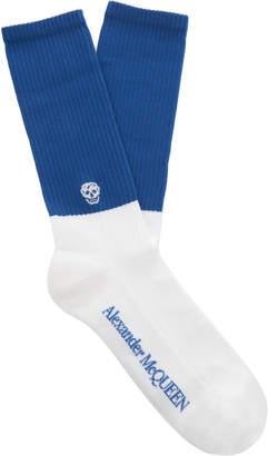 Alexander McQueen Two-Tone Cotton-Blend Socks