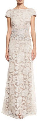 Tadashi Shoji Short-Sleeve Floral Lace Tulle Gown, Latte/Pumice $588 thestylecure.com