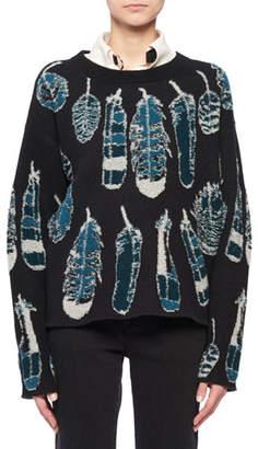 Altuzarra Crewneck Long-Sleeve Feather-Intarsia Cashmere Sweater